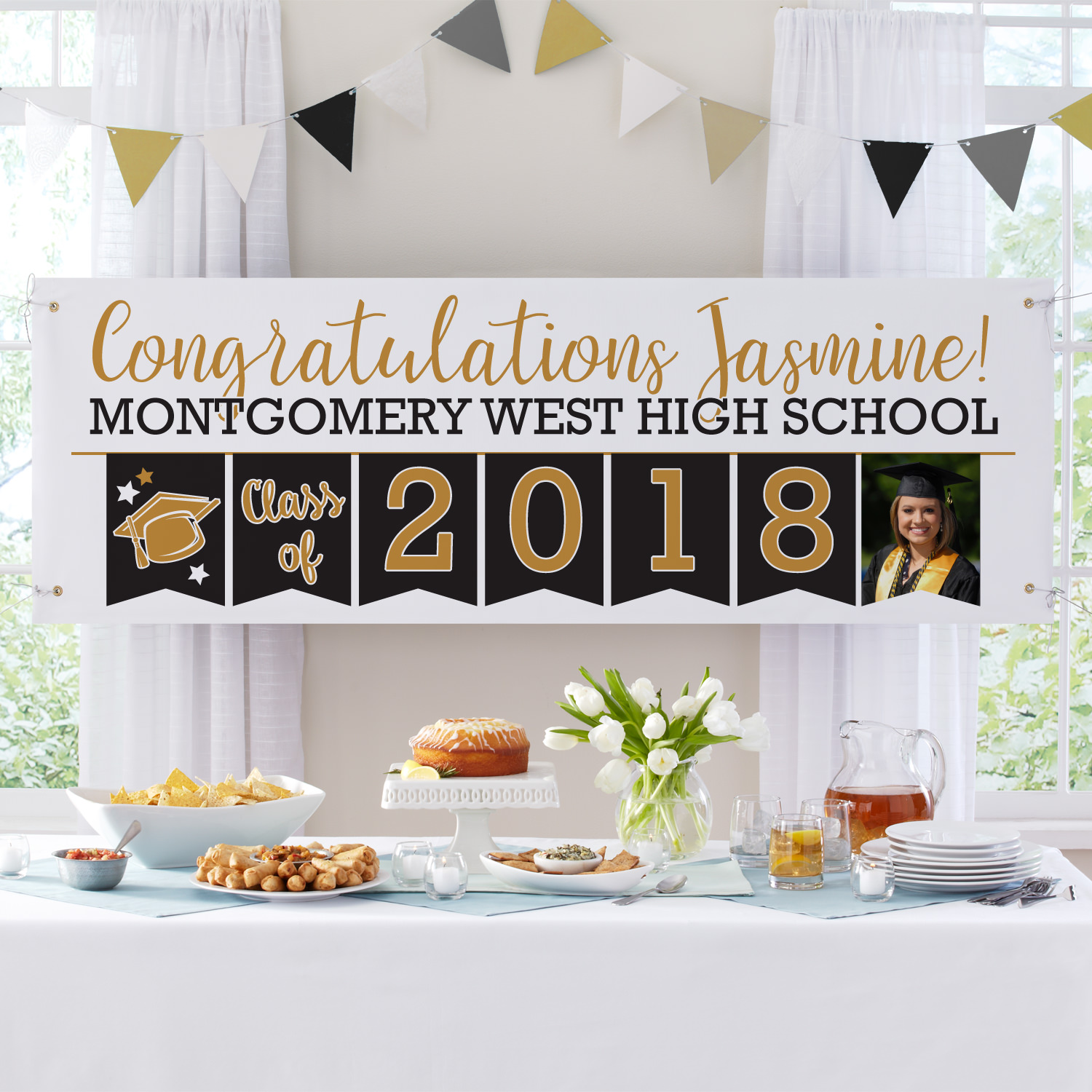 Personalized Yay Grad! Celebration Photo Banner