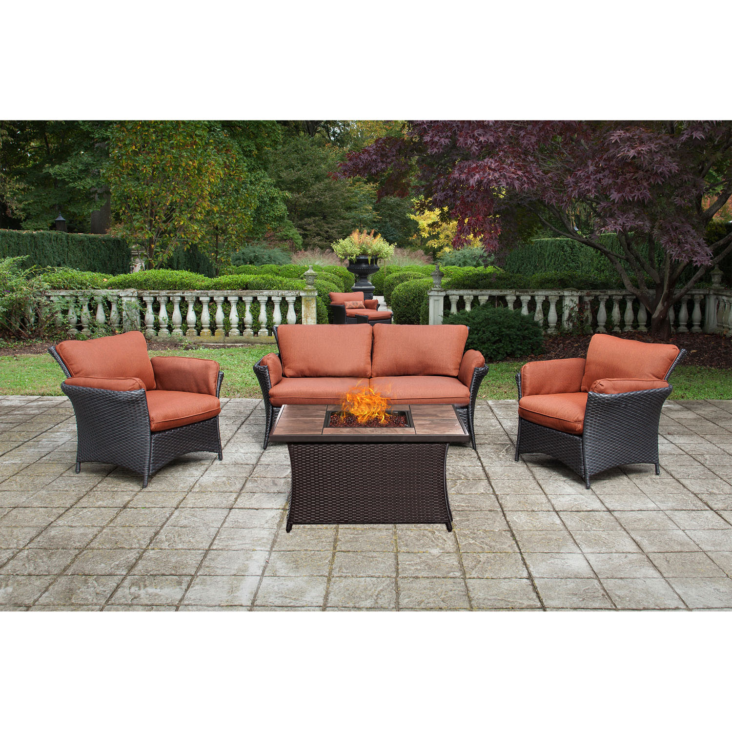 Hanover Strathmere Allure 4-Piece Woven Fire Pit Set with Faux-Stone Tile Top