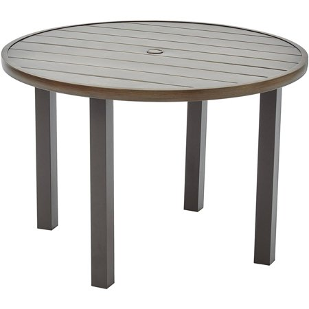 Better Homes and Gardens Camrose Farmhouse Outdoor Mix and Match Steel Slat Round Table