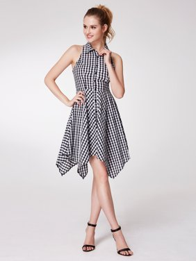 4687e9917f95 Product Image Alisa Pan Women's Retro Button Up Fit and Flare Gingham  Summer Casual Dresses for Women 05991