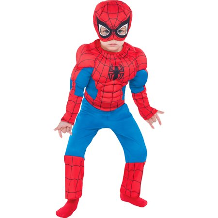 Spiderman Costume For Toddlers (Classic Spider-Man Muscle Halloween Costume for Toddler Boys,)