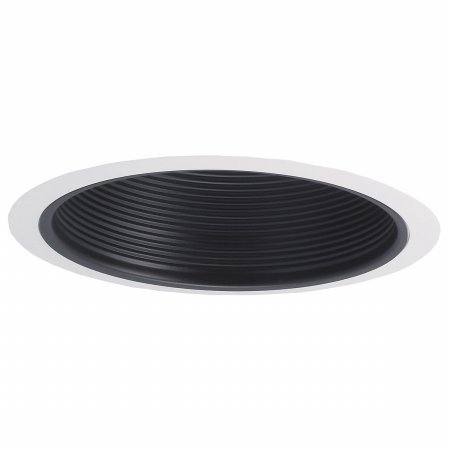 (Nora NTM-40 - 6 in. - Black Stepped Baffle, Trim:Precision spun 0.040 baffle insert with deep grooves to reduce aperture glare. By Nora Lighting)