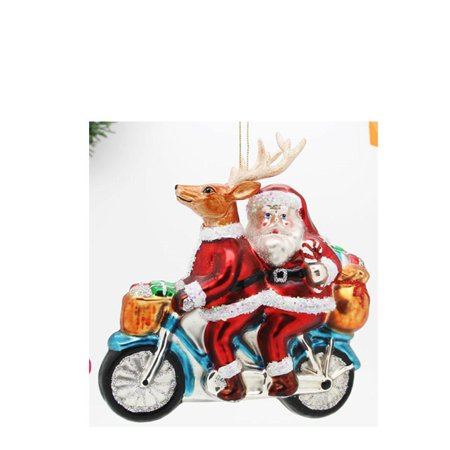 Santa And Reindeer Riding a Motorcycle Blown Glass Christmas Ornament 4.5 Inches