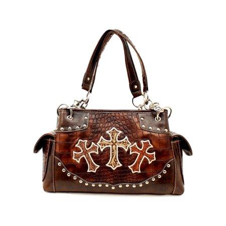 Nocona Western Handbag Womens Satchel Three Crosses N7528002