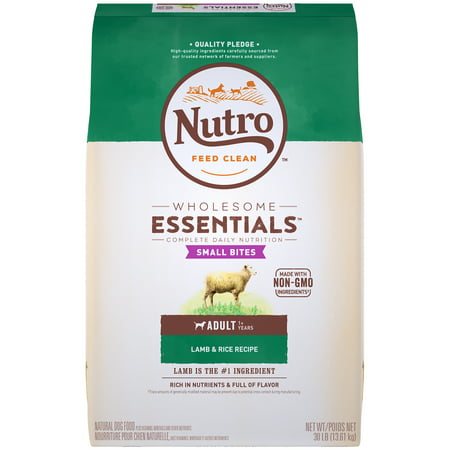 NUTRO WHOLESOME ESSENTIALS Natural Adult Dry Dog Food Small Bites Lamb & Rice Recipe, 30 lb. Bag