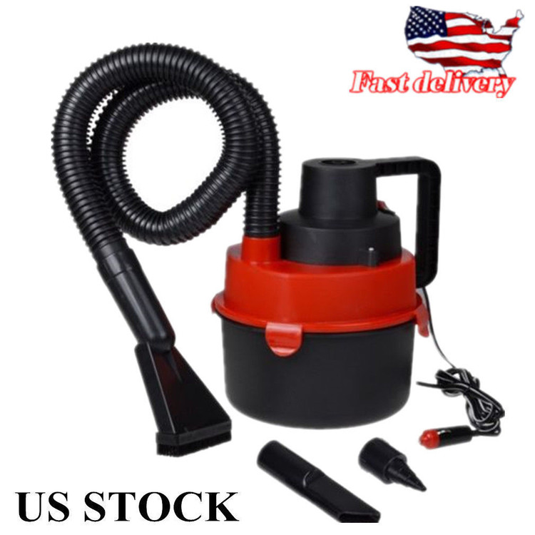 New Portable Car Vacuum Cleaner, Powerfull Mini Auto Car Vacuum Cleaner Wet and Dry DC 12V Easy and Hassle-free Cleaning Process, Black Red