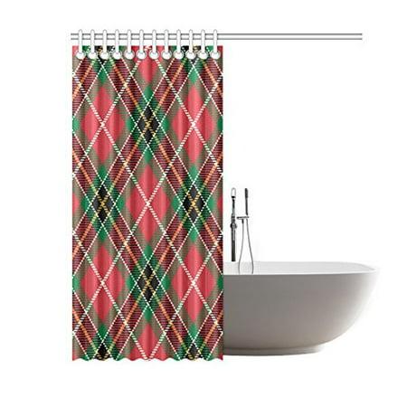 BPBOP Plaid Tartan Bathroom Waterproof Fabric Shower Curtain 66x72 Inches