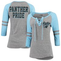 Carolina Panthers New Era Women's Lace-Up Tri-Blend Raglan 3/4-Sleeve T-Shirt - Heathered Gray/Heathered Blue