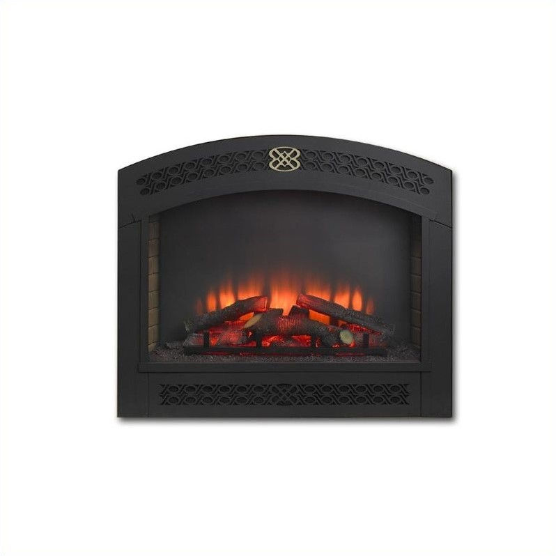 Outdoor Greatroom Company Full Arch Electric Fireplace Front for GBI-34 in Matte Black by Outdoor GreatRoom