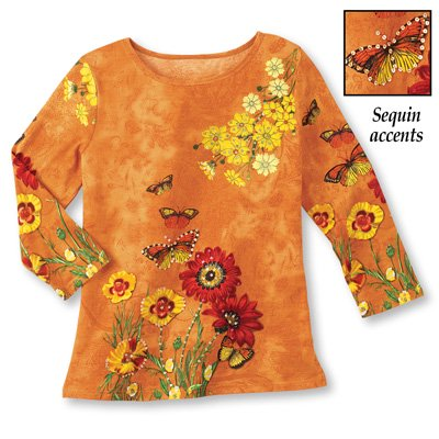 Collections Etc Women's Embellished Fall Leaves Sharkbite Top, Orange, X-Large