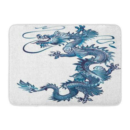 Thai Silver Snake - GODPOK Thailand Moving Up Blue Oriental Dragon on White River Snake Rug Doormat Bath Mat 23.6x15.7 inch