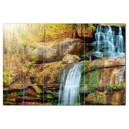 Waterfall Picture Ceramic Tile Mural Kitchen Backsplash Bathroom Showe