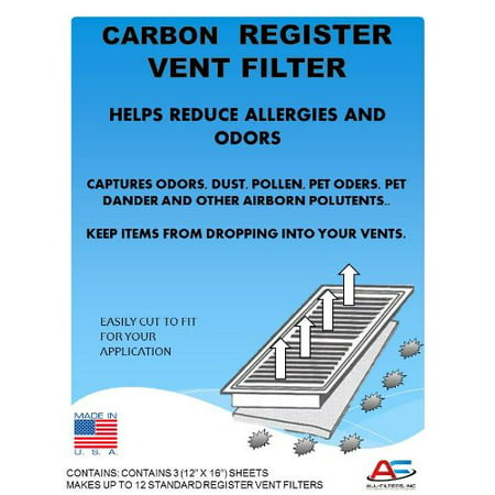 Carbon Register Vent Air, Odor & Dust Filters