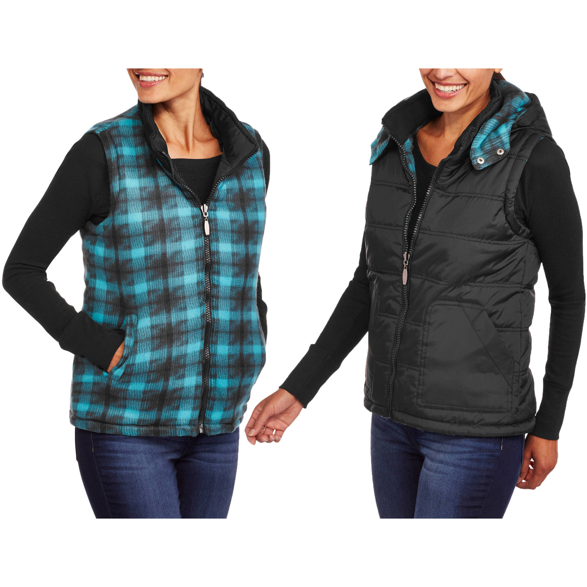 Climate Concepts Women's Reversible Plaid Puffer Vest