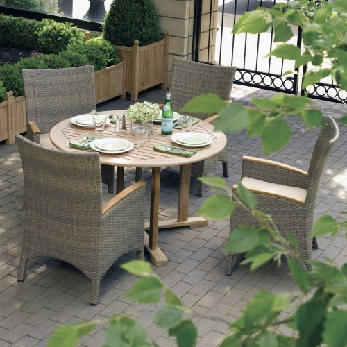 Oxford Garden Torbay All Weather Wicker Round Dining Set - Seats 4