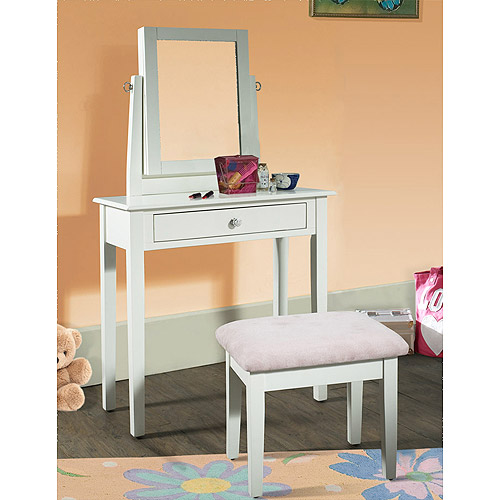 Youth Vanity, Bench and Mirror Set with Jewelry Storage, White