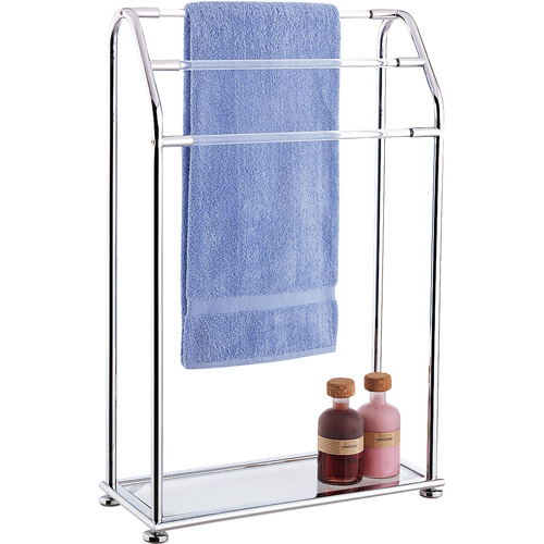 Neu Home Acrylic Collection 3-Bar Towel Rack with Bottom Shelf