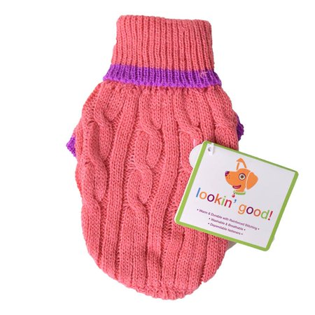 Fashion Pet Cable Knit Dog Sweater - Pink XXX-Small (4 From Neck Base to Tail)