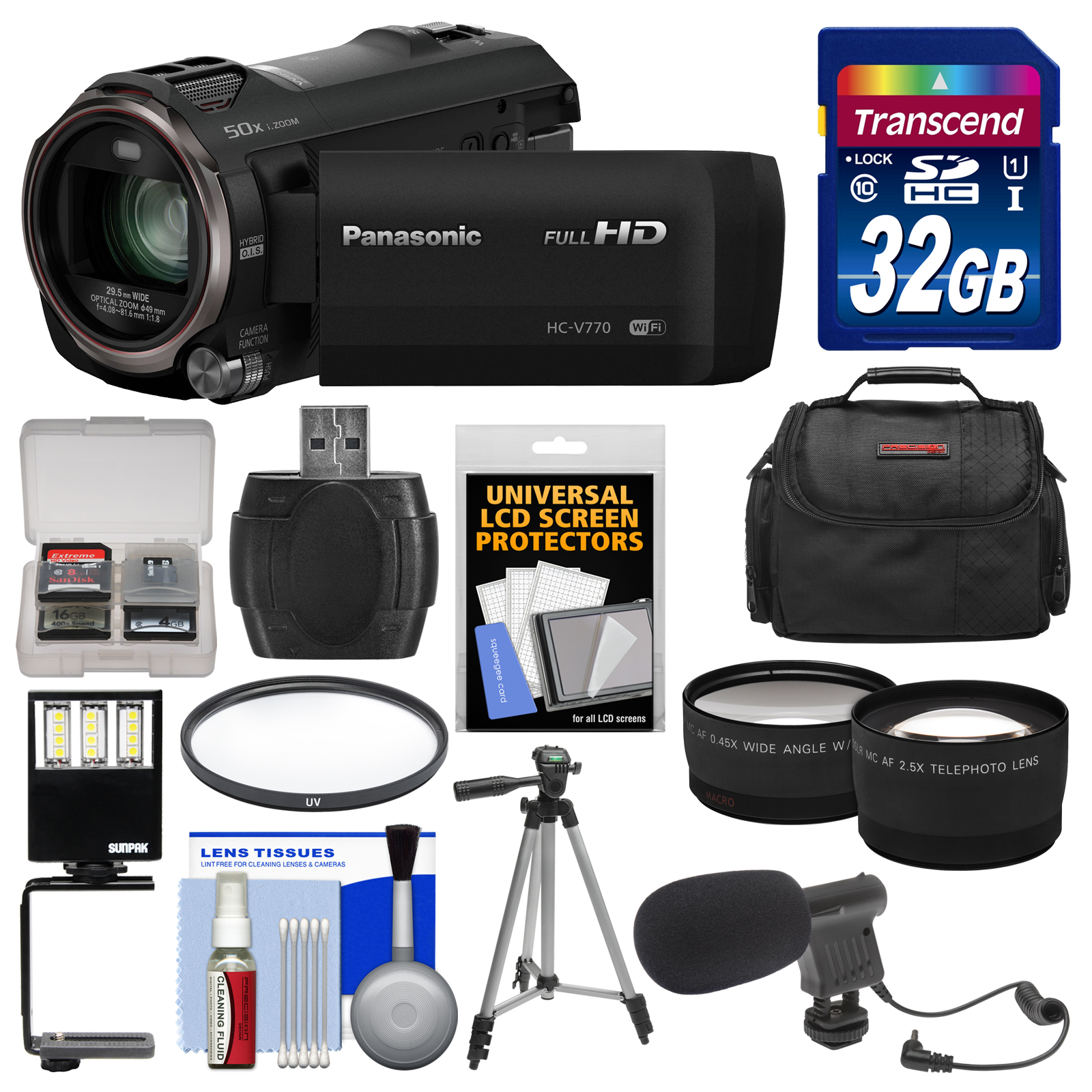 Panasonic HC-V770 Wireless Smartphone Twin Wi-Fi HD Video Camera Camcorder   32GB Card   Case   LED Light   Microphone   Tripod   Tele/Wide Lens Kit