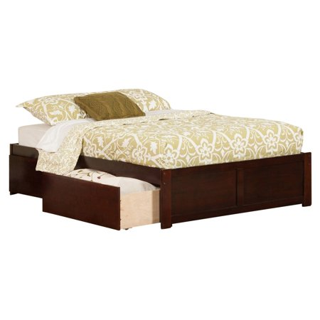 Atlantic Furniture Concord Full Platform Bed with Flat Panel Foot Board and 2 Urban Bed Drawers in Walnut