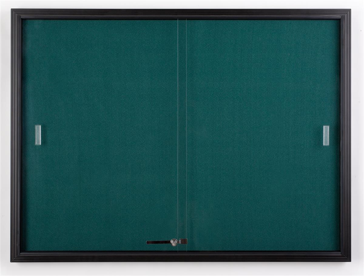 "4' x 3' Teal Fabric Tack board for Wall Mount Use, Locking Sliding Glass Door, 48""w x 36""h Enclosed... by Displays2go"