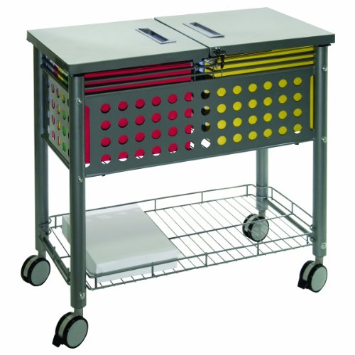 "Vertiflex Smartworx Sidekick File Cart - 4 Caster - Steel - 13.8"" X 28.3"" X 29"" - Gray (VF52001)"