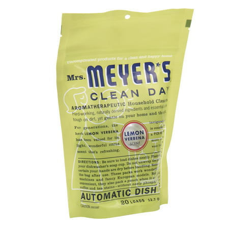 Mrs. Meyer's Clean Day Automatic Dish Packs, Lemon Verbena Dishwasher Pods, 20