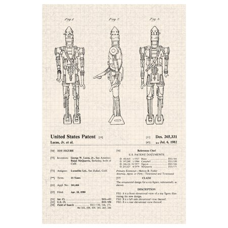 Ig 88 Star Wars Movie Official Patent Diagram Poster 12x18 Inch