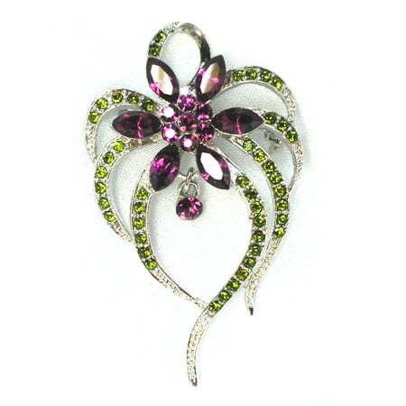 - Faship red green crystal Floral pin brooch