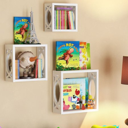Children's Square Cube Wall Shelves Set 3 Pcs - Display Kids Favorite Books, Photos, and More - Beautifully Carved Side Panels and Open Back Design - Square Display Shelf
