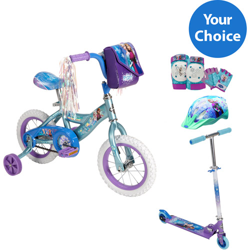 "Your choice: Disney Frozen 12"" Huffy Girls' Bike or Inline Folding Kick Scooter w/ safety gears Bundle"