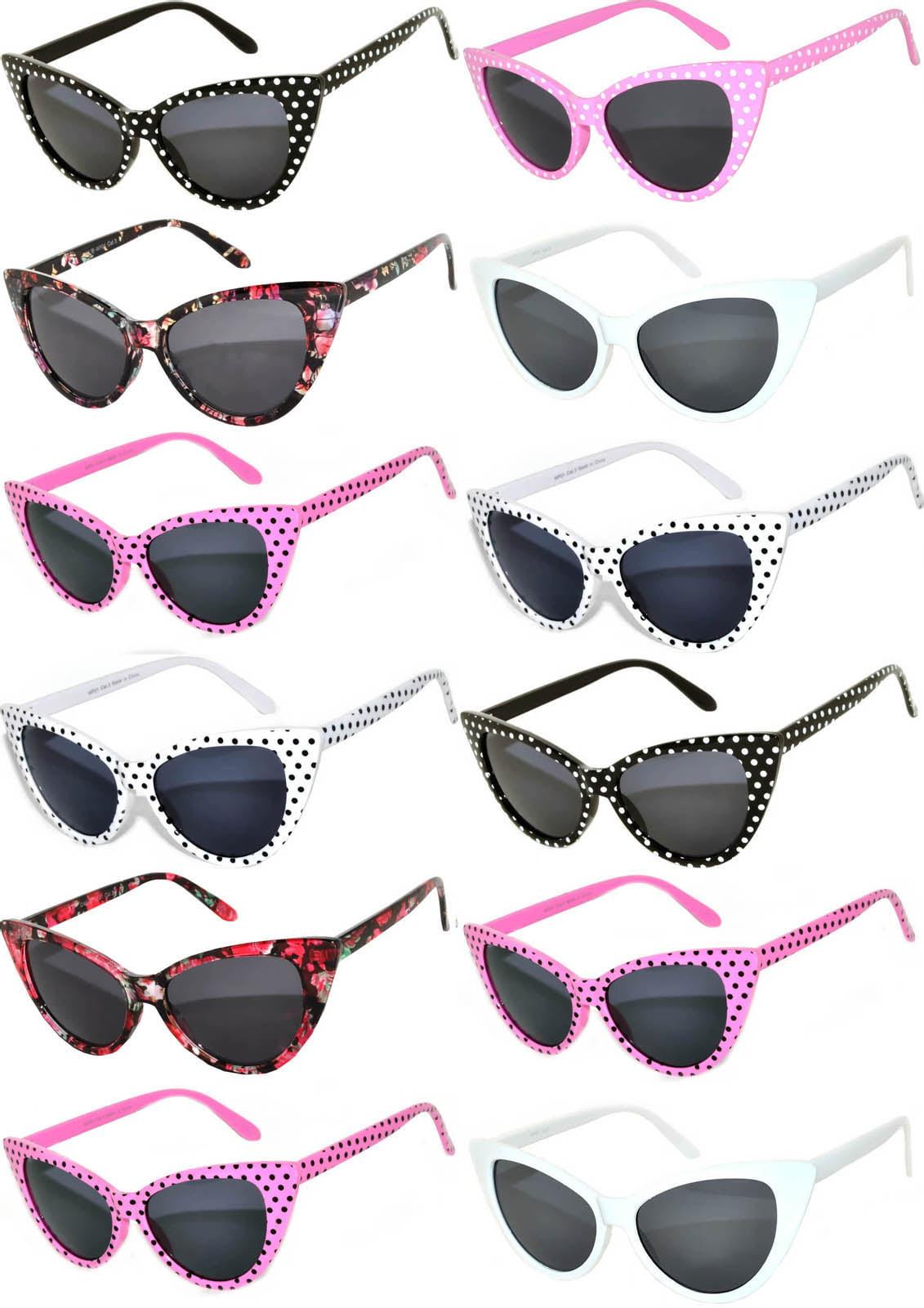 Retro Women's Cat Eye Vintage Sunglasses UV Protection Colored Frame Colored Lens Brand OWL (12 Pack)