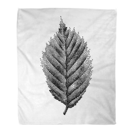 ASHLEIGH Flannel Throw Blanket Oak Engraving Birch Leaf Drawing Forest Summer Tree Antique Soft for Bed Sofa and Couch 50x60 Inches
