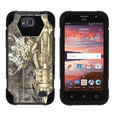 TurtleArmor ® | For ZTE Majesty Pro [Dynamic Shell] Dual Layer Hybrid Silicone Hard Shell Kickstand Case - Steampunk Machine (Steampunk Suit)