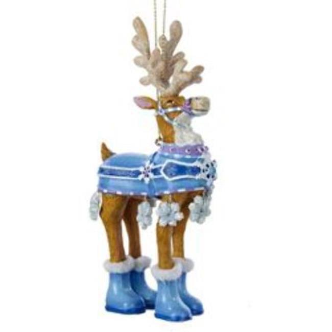 Kurtadler 1912260 Snowflake Blue Reindeer Ornament - Case of 72