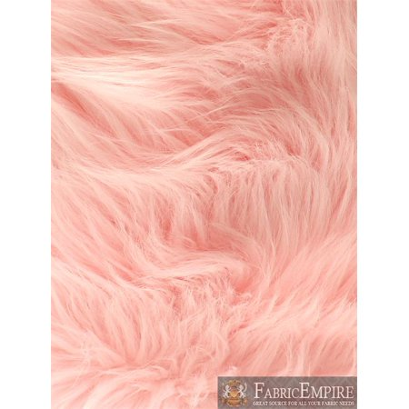 Faux Fur Long Pile Shaggy BABY PINK / 60