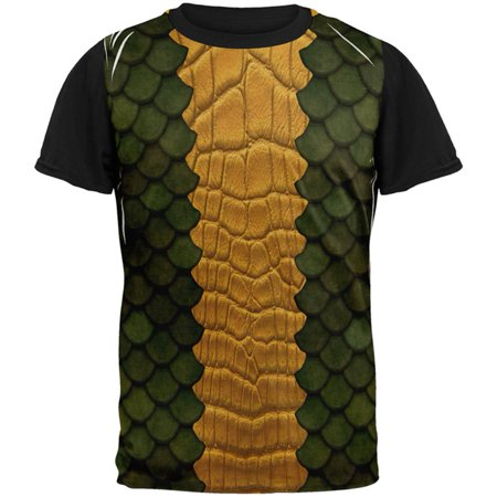 Halloween Green Dragon Costume All Over Mens Black Back T Shirt