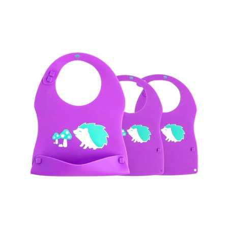 Crumb Catcher Feeding Bib (Kinderville (3 Pack) Silicone Baby Bibs Waterproof Unisex Crumb Catcher Snaps Feeding Bibs For Boys Girls )