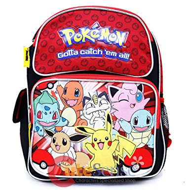 "Small Backpack - Pokemon - Pikachu n Friends Red/Black 12"" Bag 858268"