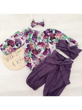 3PCS Newborn Baby Girls Tops Romper+Floral Pants Leggings Headband Outfits Set Clothes 0-24M