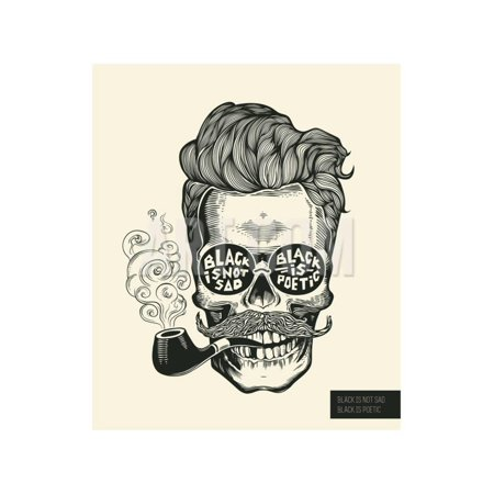 Skull. Hipster Skull Silhouette with Mustache, Beard, Tobacco Pipes and Glasses. Lettering 'Black I Print Wall Art By (Where Can I Buy Fake Hipster Glasses)