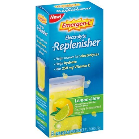 Emergen-c electrolyte replenisher (8 count, lemon-lime flavor) fizzy drink mix with 250mg vitamin c, 0.33 ounce packets