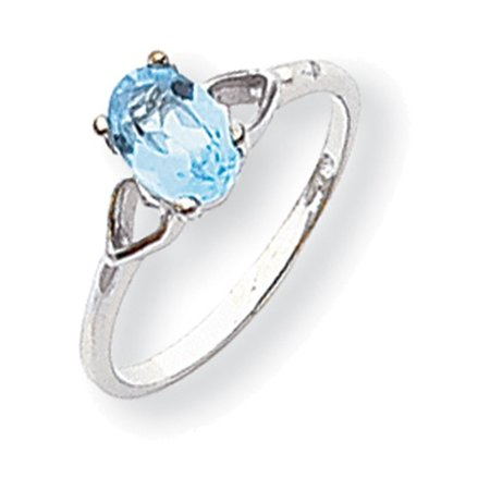 Gemstone Oval Ring - 14k White Gold Polished 7x5 Oval Gemstone Ring Mounting