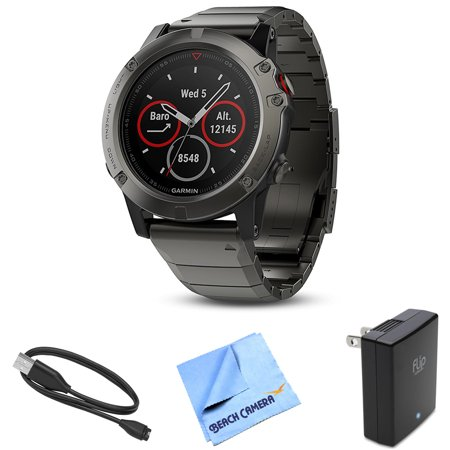 Garmin Fenix 5X Sapphire Multisport 51mm GPS Watch Slate Gray with Metal Band (010-01733-04) with Charging and Data Cable, 1 Piece Micro Fiber Cloth & Universal USB Travel Wall