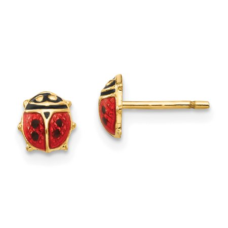 14k Solid Yellow Gold Madi K Enamel Ladybug Post Earrings