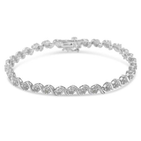 (Sterling Silver 1ct. TDW Rose Cut Diamond Spiral Link Bracelet (I-J, I3))