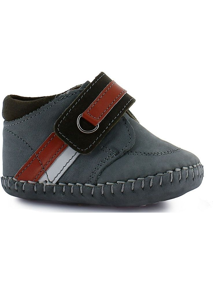 Rilo Boys Buck Grey Leather Hook-And-Loop Strap Casual Booties