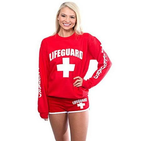 LIFEGUARD Official Ladies Red Crew Neck Sweatshirt (Medium, Red) - Lifeguard Rescue Equipment