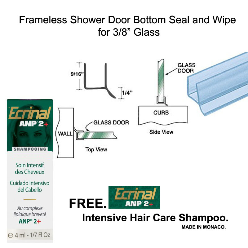 "Clear Shower Door Dual Durometer PVC Seal and Wipe for 3/8"" Glass - 32"" long with Free Ecrinal Intensive Hair Care Shampoo with ANP2 4 ml"