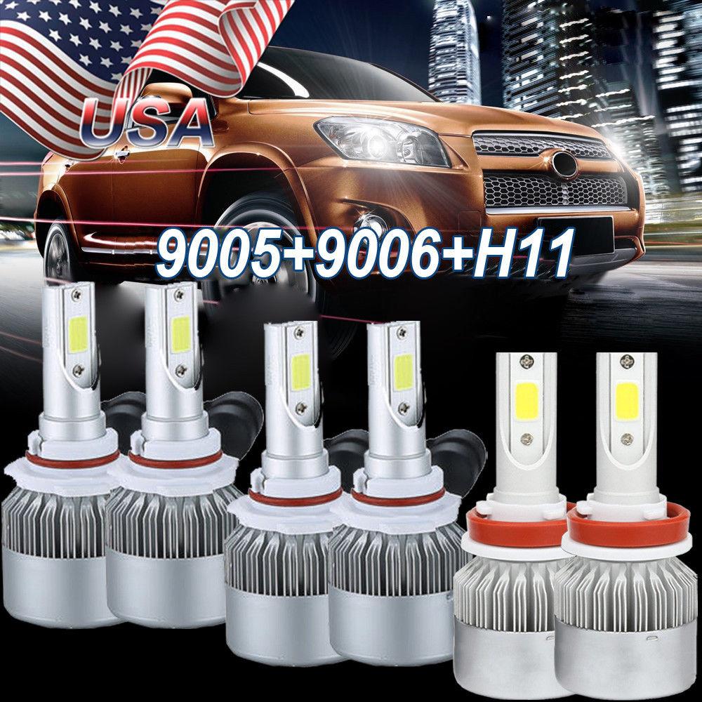 9005 + 9006 + H11 kit 3SET Combo COB Light 6000K 3240W 486000LM High Low Beam LED Headlight Bulbs/Fog Light Bulbs